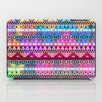 stickers iPad Cases featuring  Neon Aztec | Purple Pink Neon Bright Andes Abstract Pattern by Girly Trend
