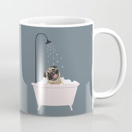 Laughing Pug Enjoying Bubble Bath Coffee Mug