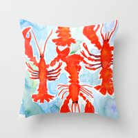 lobster Throw Pillows featuring Lobster by Julie Lehite