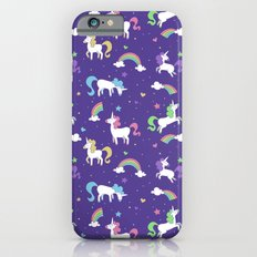 Unicorns and Rainbows - purple -tiny Slim Case iPhone 6s