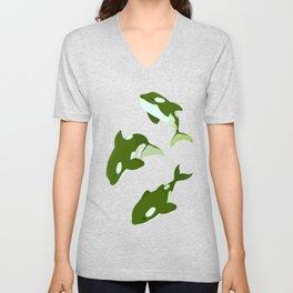 Green Orca Unisex V-Neck