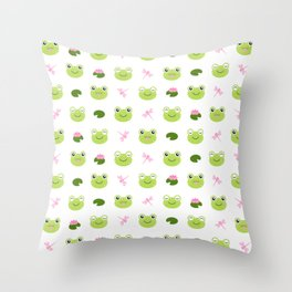 Frogs, Dragonflies and Lilypads on White Throw Pillow