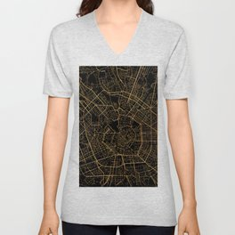 Black and gold Milan map, Italy Unisex V-Neck