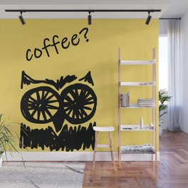 Coffee? Morning owl print Wall Mural