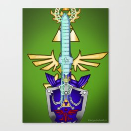 Zelda Guitar #2 - Hylian Shield & Master Sword (TP) Canvas Print