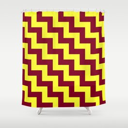 Electric Yellow and Burgundy Red Steps LTR Shower Curtain