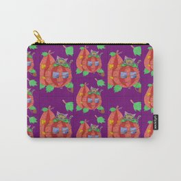 Cat behind pumpkins on a purple background . Carry-All Pouch