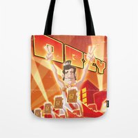 obey Tote Bags featuring Obey by Dr.Ink Maniac Division