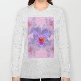 TROPICAL LILAC CATTLEYA ORCHID FLOWERS PINK ART Long Sleeve T-shirt