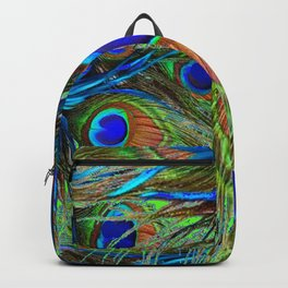 BLUE-GREEN PEACOCK FEATHERS ART Backpack