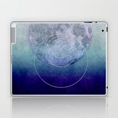 Blue Moon geometric circle mixed media Laptop & iPad Skin
