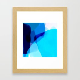 blue winter ice now abstract watercolor Framed Art Print