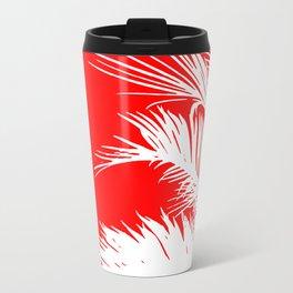 Red & White Palm Leaves Travel Mug