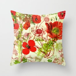 Vintage Red Green Poppies Summer Wildflowers Throw Pillow