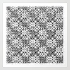 Black and White Broken Diamond Swirl Pattern Art Print