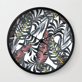 Botanical seamless tropical pattern with bright plants and leaves on a white background. Summer colorful hawaiian. Exotic tropics. Summer. Printing and textiles. Wall Clock