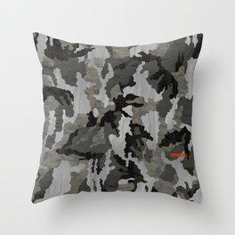 Modern Woodgrain Camouflage / Winter Birch Woodland Print Throw Pillow