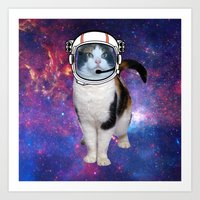 space cat Art Prints featuring Space cat by S.Levis