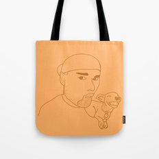 A boy and his dog. Tote Bag