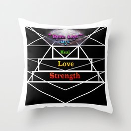 """""""Tri Strength Love Heal : Beez Lee Art"""" Throw Pillow"""