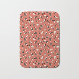 Red and Black Abstract Cut Out Shapes Bath Mat