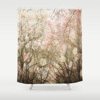 wonderland Shower Curtains featuring Wonderland by Jenndalyn
