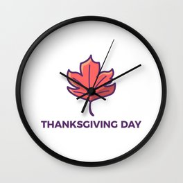 Happy Thanksgiving Day Maple Leaf Design Wall Clock