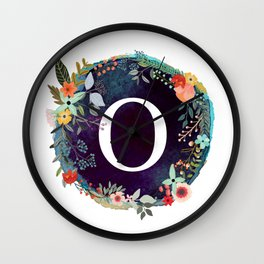 Personalized Monogram Initial Letter O Floral Wreath Artwork Wall Clock