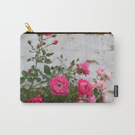 pink roses and old wall Carry-All Pouch