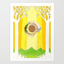 The Raven's Illumination Tarot: Ace Of Pentacles Art Print