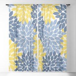 Blue Yellow Flower Burst Floral Pattern Sheer Curtain