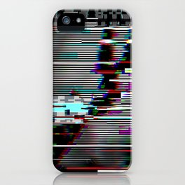 Glitch psychedelic illustratio old TV iPhone Case