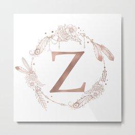 Letter Z Rose Gold Pink Initial Monogram Metal Print