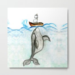 Cute whale and boat watercolor Metal Print