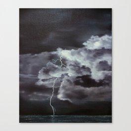 Ocean Lightning - original oil painting by Sarah Lynch Canvas Print