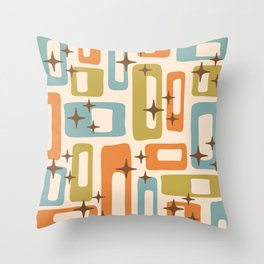 Retro Mid Century Modern Abstract Pattern 922 Orange Olive Blue Throw Pillow