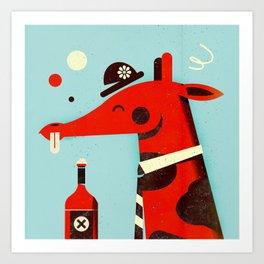 Drunk giraffe ... Art Print