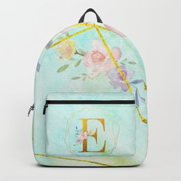 Gold Foil Alphabet Letter E Initials Monogram Frame with a Gold Geometric Wreath Backpack