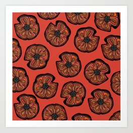 Rusted Poppy Pattern - red and brown poppies autumn fall Art Print