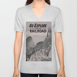Take the Railroad ( black and white ) Unisex V-Neck