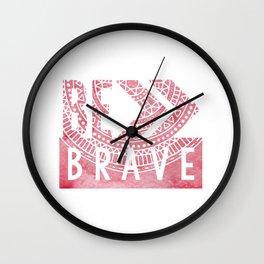 Be Brave Red Arrow Mandala Wall Clock