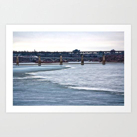 Bridges on the Icy River Art Print