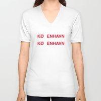copenhagen V-neck T-shirts featuring COPENHAGEN by eyesblau