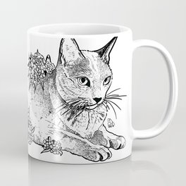 Cat and acacias Coffee Mug