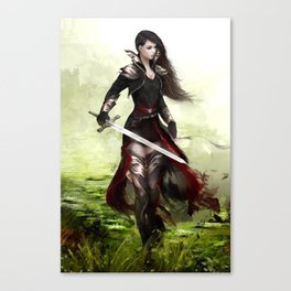 Lady knight - Warrior girl with sword concept art Canvas Print