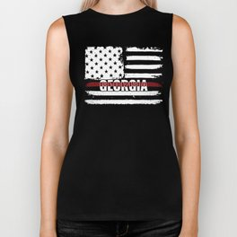 Georgia Firefighter Gift for Texas Firemen and Firefighters Thin Red Line Biker Tank