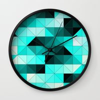 teal Wall Clocks featuring Teal by Hannah