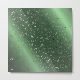 silver music notes metall green Metal Print