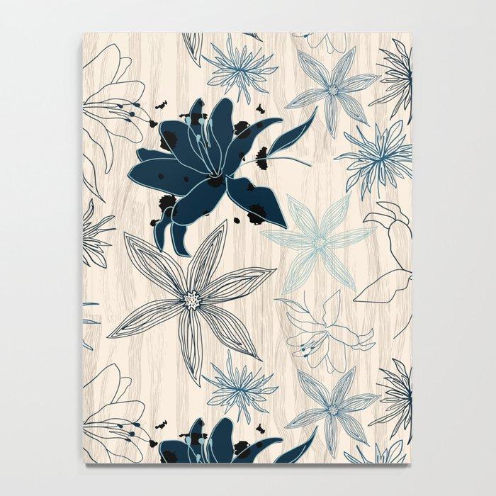 Dark wood grain flowers Notebook