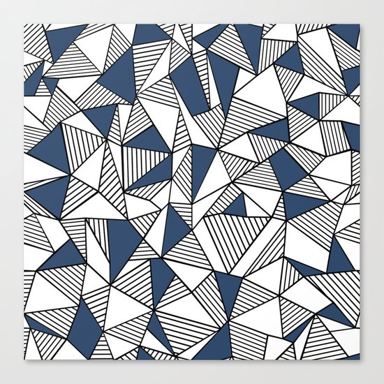 Abstraction Lines with Navy Blocks Canvas Print